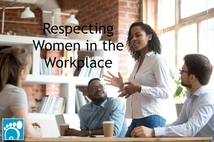 Group of coworkers who understand respecting women in the workplace